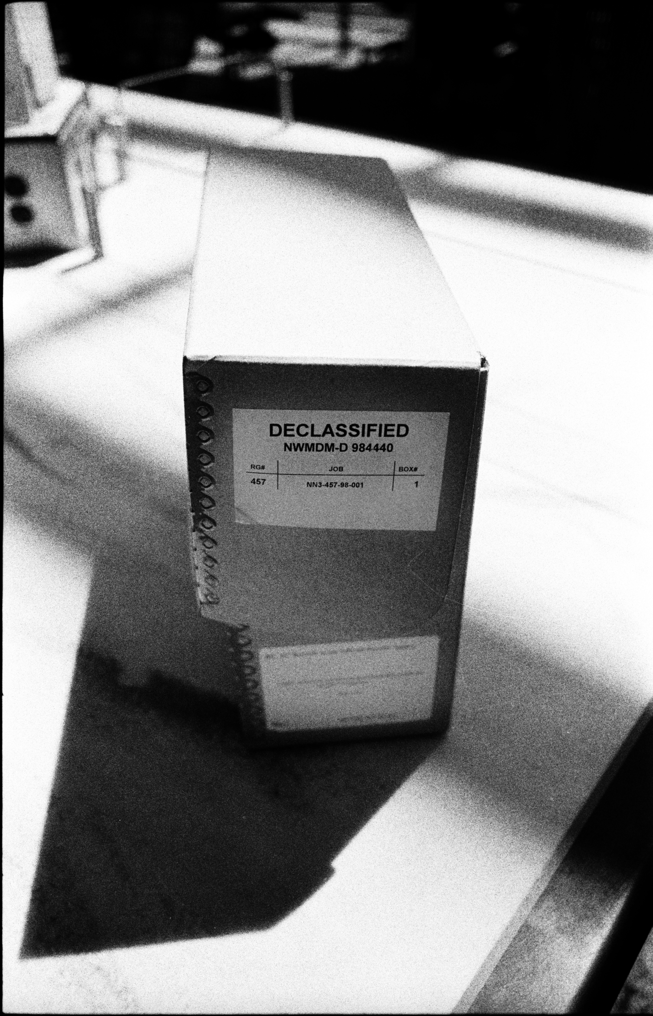 A box of declassified documents