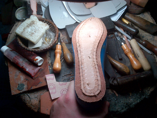 Constructing the leather sole