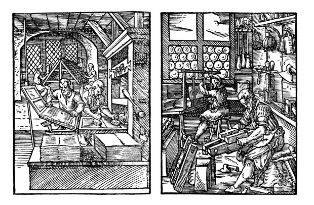 Amman woodcuts showing a compositor with his composing stick and two-page forme, and printers and bookbinders at work