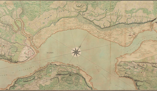 This map, one of many in the collection of cartographic enthusiast George III, shows the Saint Lawrence River and Quebec during the French and Indian War in 1759, the year before George became King of England (and its American colonies).
