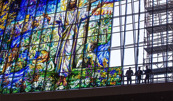 A behind-the-scenes look at the installation of a massive piece of stained glass art inside the Church of the Resurrection in Leawood, Kansas.