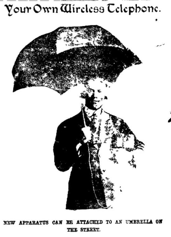 A crystal radio which uses an umbrella for its antenna