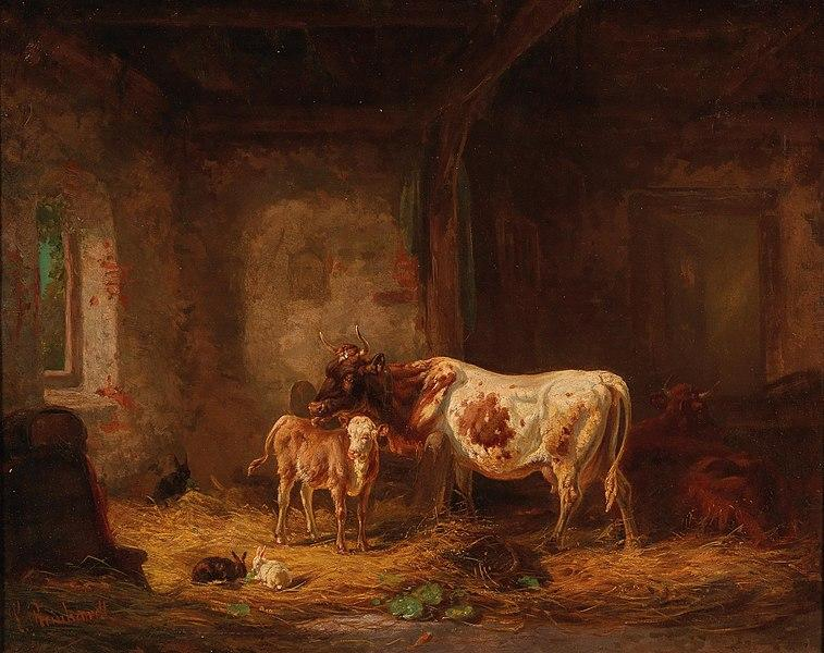 757px-Louis_Reinhardt_-_Cows_and_Rabbits_in_the_Barn.jpg