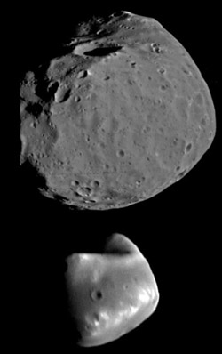 Phobos and Deimos, seen here together for comparison.