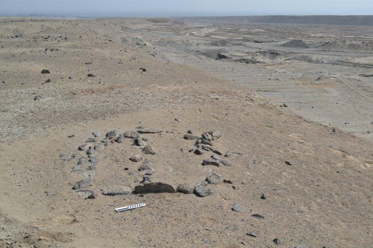 A small geoglyph in the Chincha pampa with the center line defining the June solstice.