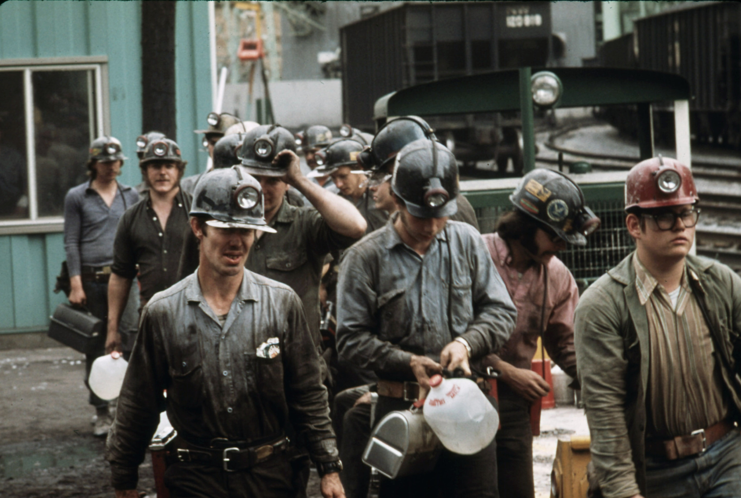 Historical miners going to work