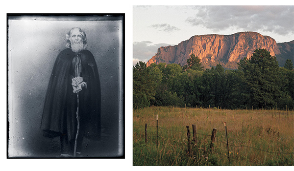 Left, Giovanni Maria de Agostini, a peripatetic Italian monk who was banished from Brazil, reached northern New Mexico on foot in 1863. He holed up on a mountain that would become known as Hermit Peak, today the object of an annual pilgrimage. Right, view of Hermit Peak.