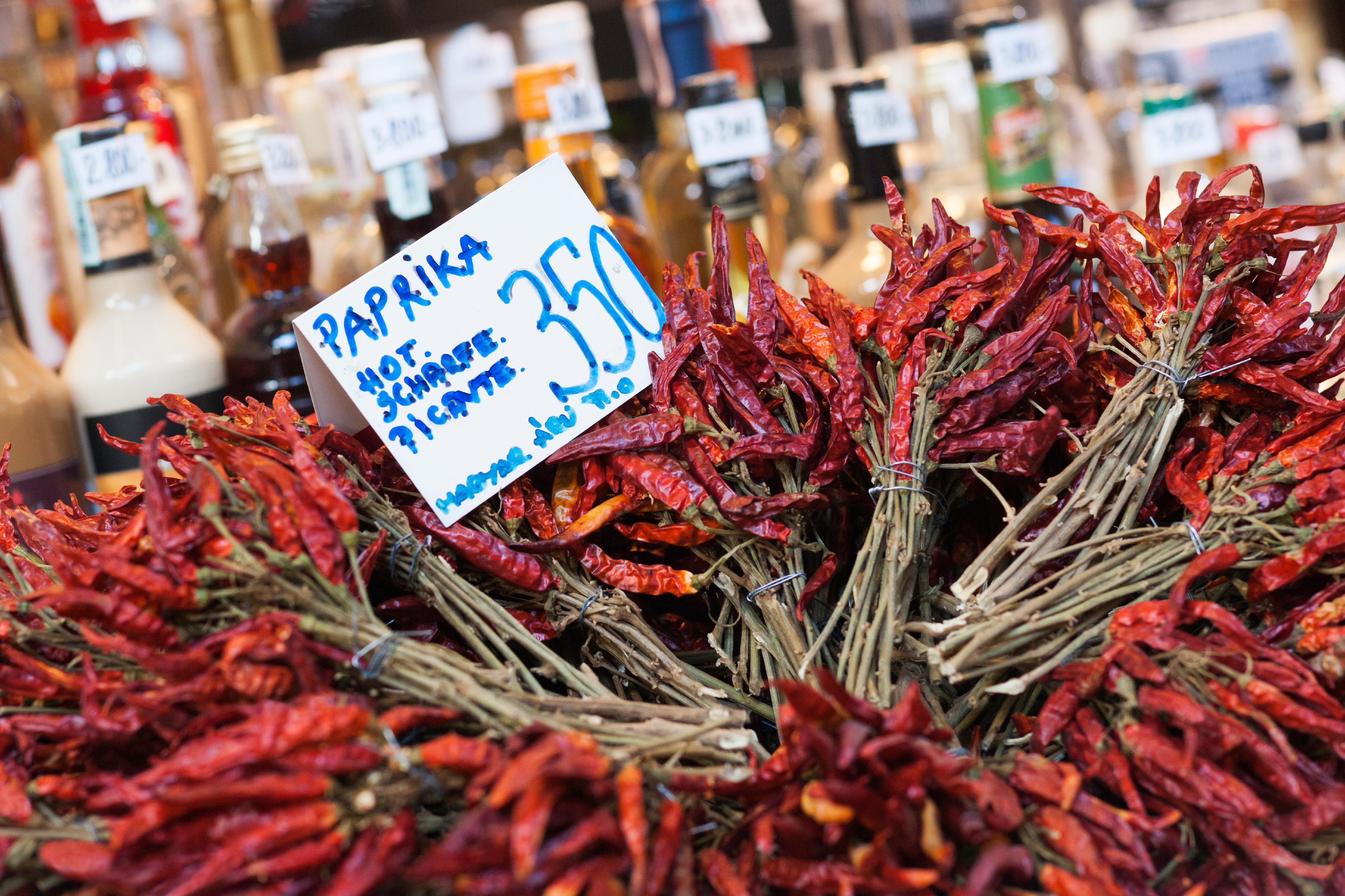 Dried bunches of red paprika in Budapest