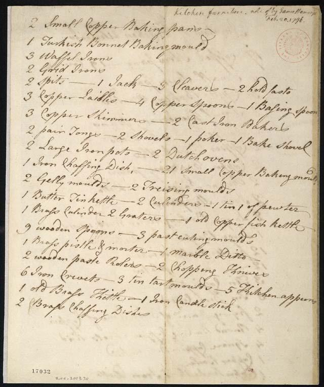 Kitchen inventory written in the hand of James Hemings