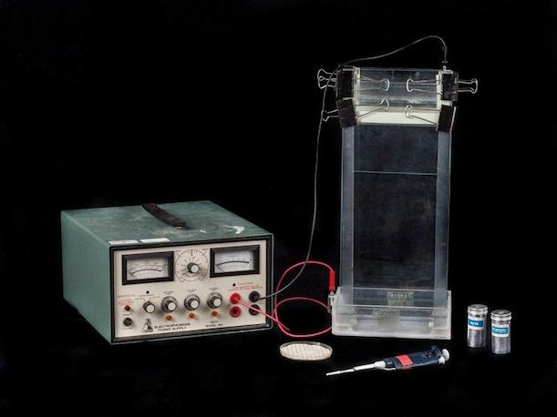 Electrophoresis equipment used in early genetic research at Genentech