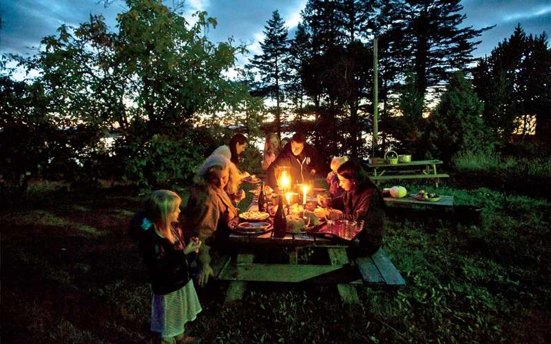 A family dinner at a local vineyard.