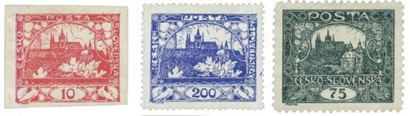 The first Czechoslovakian stamps designed by Alphonse Mucha