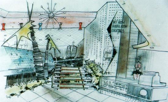 Design for the interior of Huddle's Cloverfield in Santa Monica, California (1955)