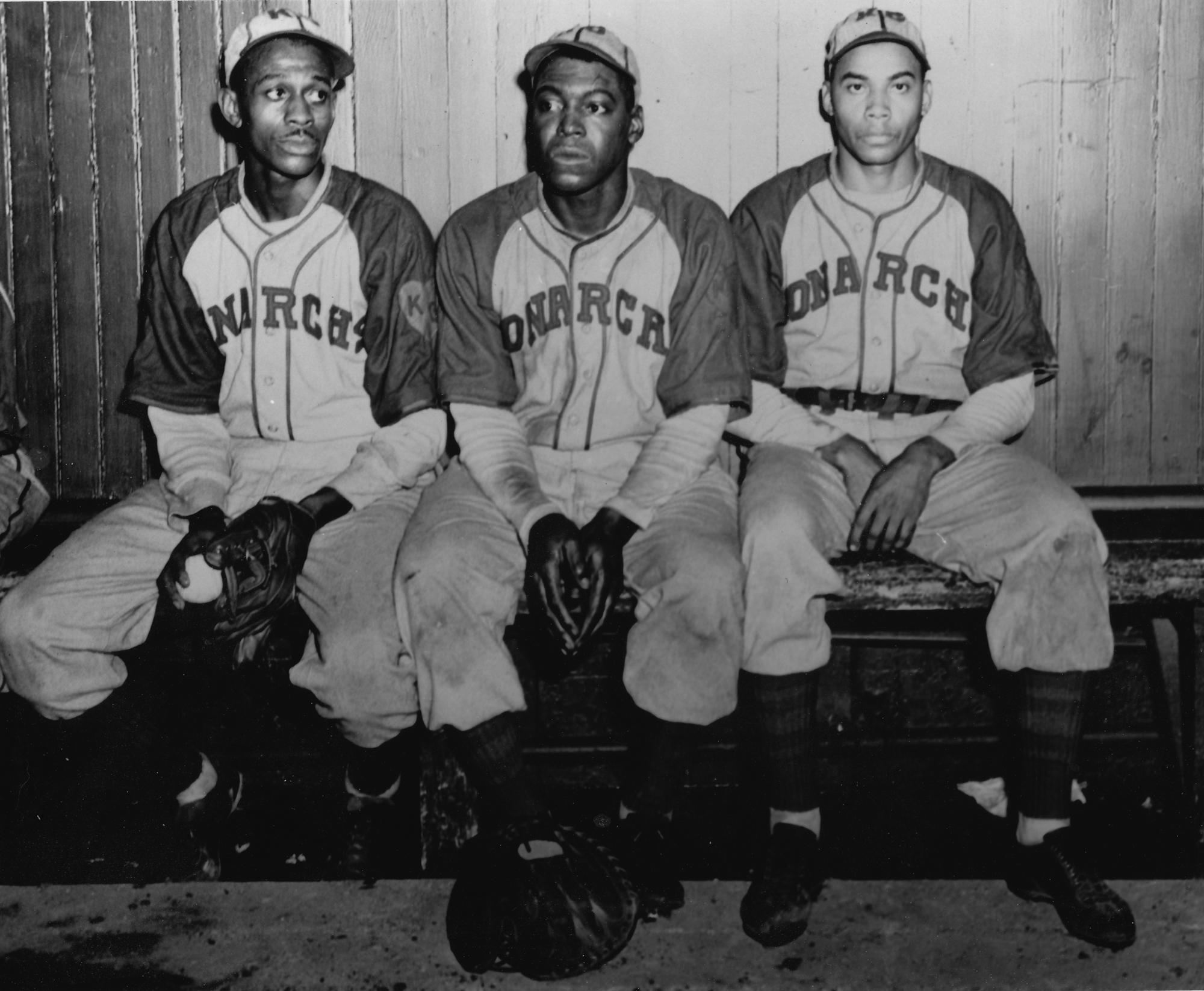 Joe Greene {center) with Satchel Paige (far left)