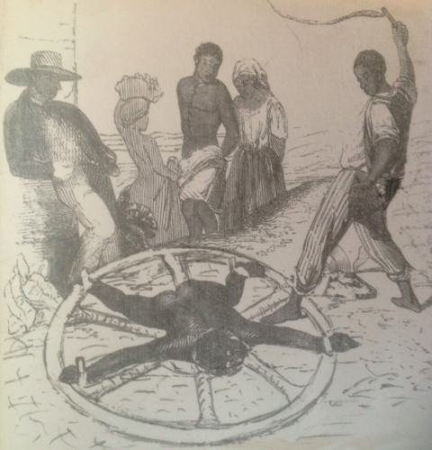 Prince Klaas, leader of the supposed slave rebellion on Antigua, on the wheel.