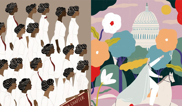 Illustrations from She Votes: How U.S. Women Won Suffrage, and What Happened Next of some of the women who have propelled the continuing fight for women's rights.