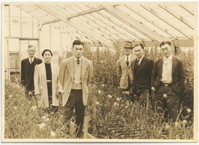 Fred Korematsu and family in their flower nursery in Oakland, CA.