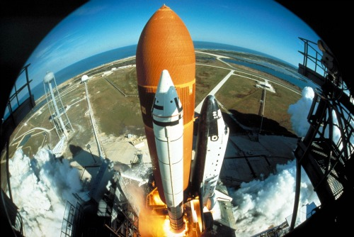 The January 1984 launch of space shuttle Discovery, as seen through a wide-angle IMAX camera.