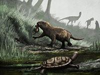 artist's rendering of dinosaur age mammals