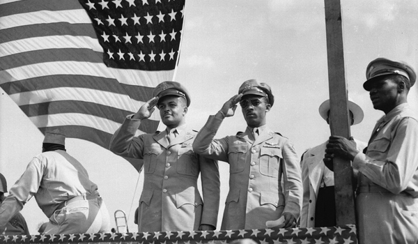 Two men wearing U. S. Army uniforms, including Major George S. Roberts (on left), June 22, 1944