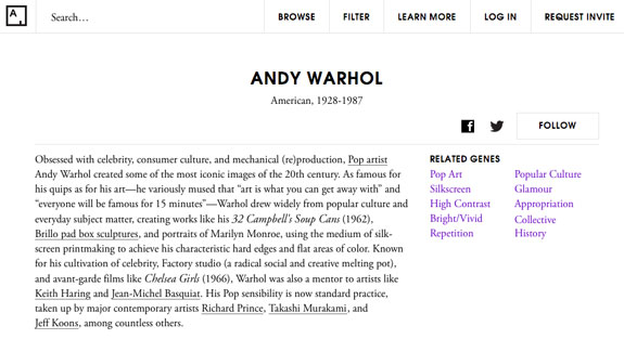 """Here, you can see Andy Warhol's """"genes,"""" according to Art.sy."""