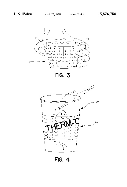 A close-up of the insulation of Sorensen's coffee sleeve in his patent file.