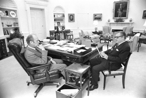 Gerald Ford meets with vice president Nelson Rockefeller