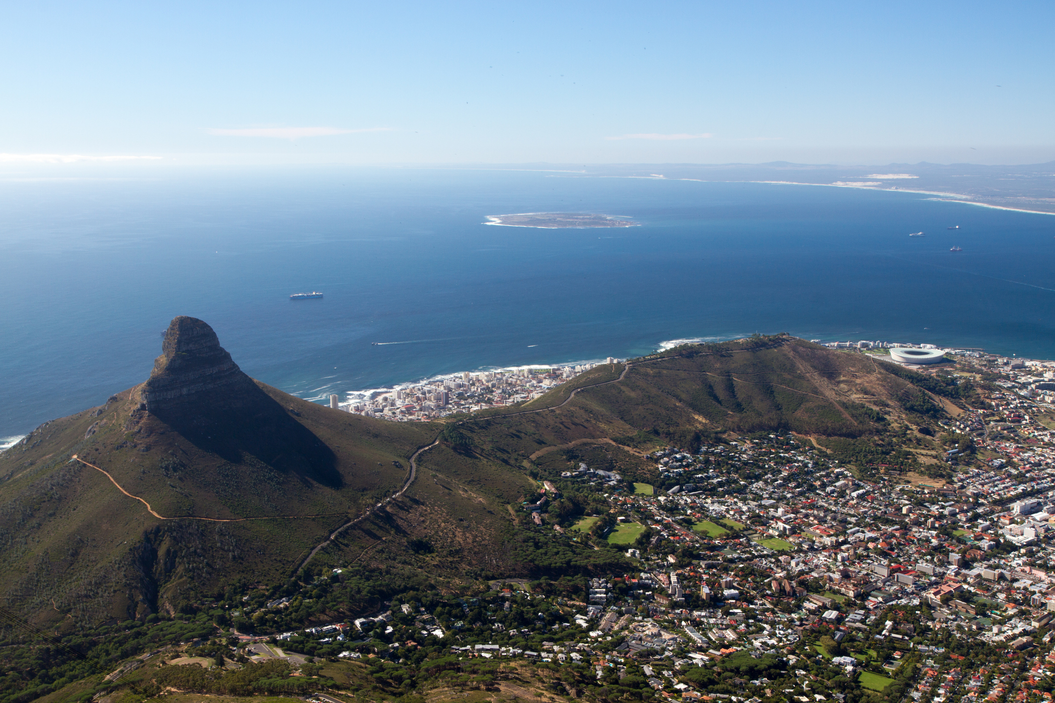 View over Cape Town with Robben Island