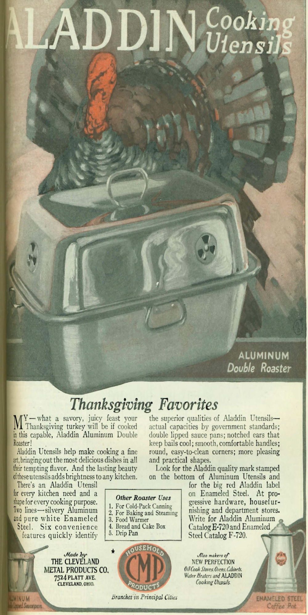 Aladdin Cooking Utensils advertises its double roaster in a 1920 issue of Good Housekeeping.