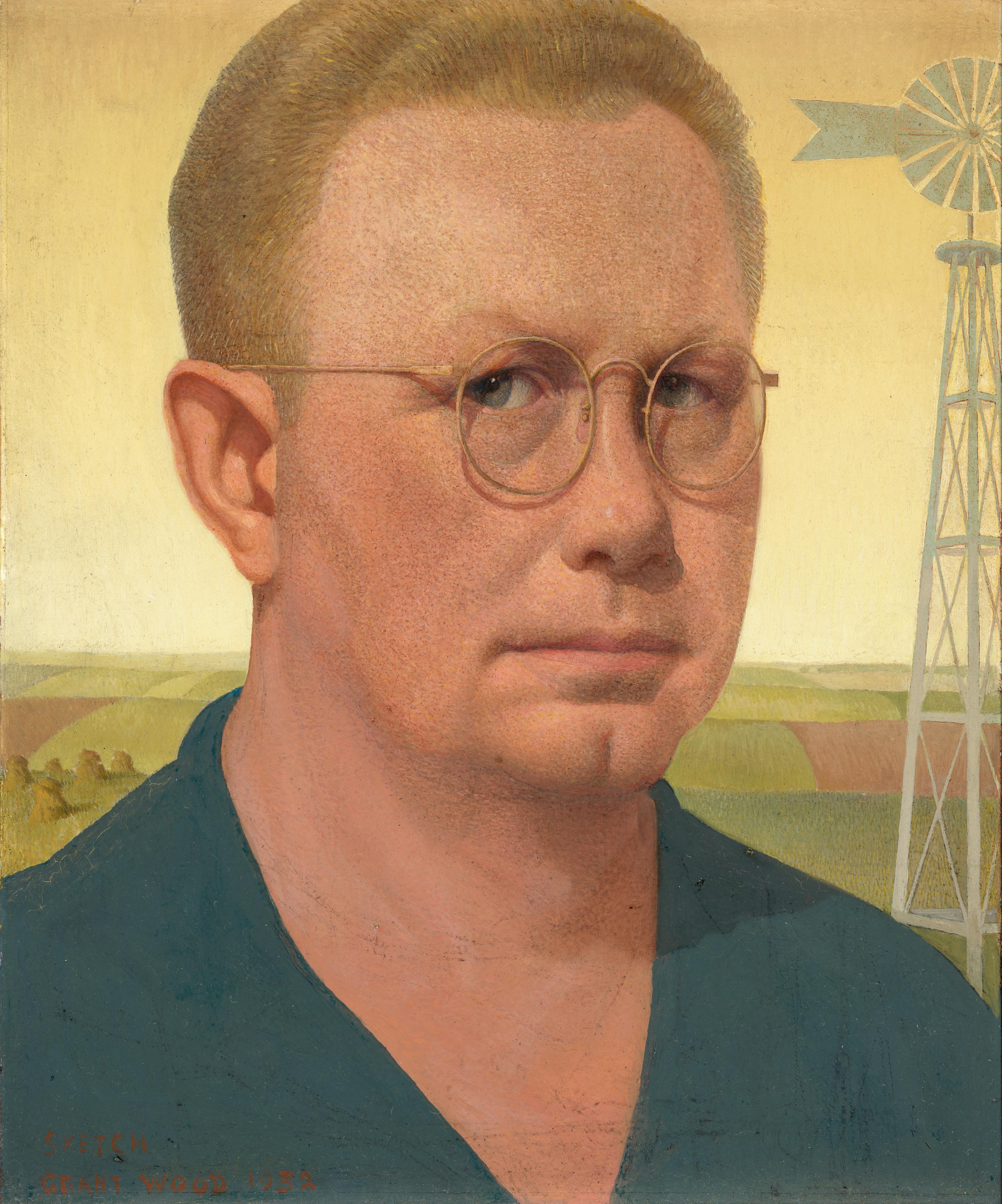 Wood reworked his self-portrait