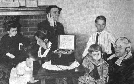 A family listening to radio together