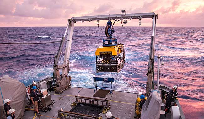 The Schmidt Ocean Institute's submersible SuBastian, which was responsible for several discoveries in 2020, is retrieved from the water.