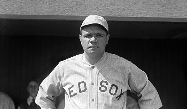 Baseball star Babe Ruth in his last year with the Boston Red Sox in 1919, one year after he survived the flu.