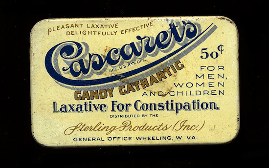 "Sterling Products made this ""candy cathartic"" around 1925."