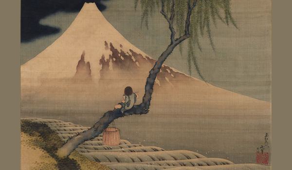 Boy Viewing Mount Fuji (detail) by Katsushika Hokusai, 1839