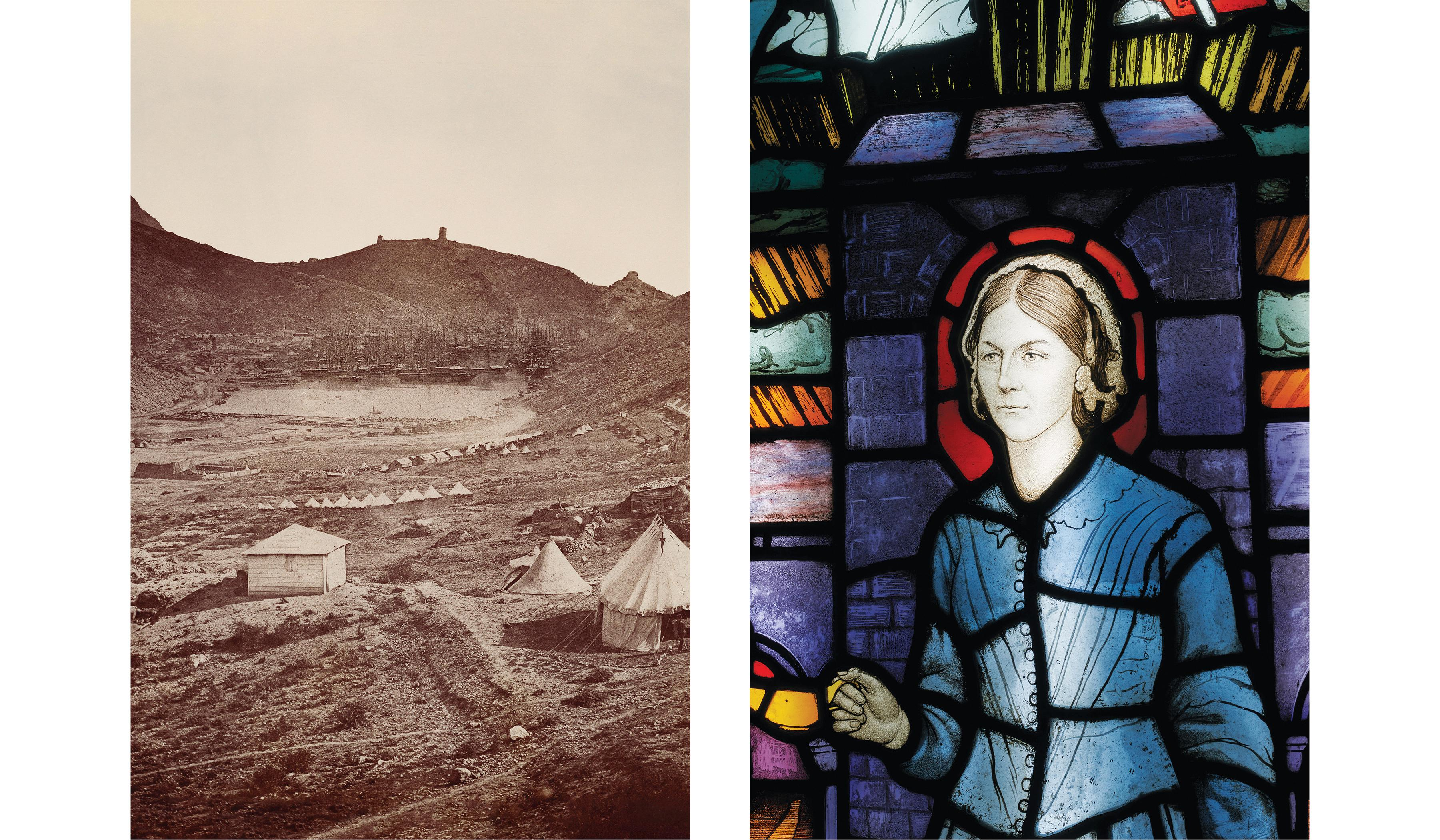 Left, the British Army camped at Balaklava in the Crimea. Right, an angelic Nightingale animates a stained glass window crafted around 1930.