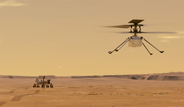 Ingenuity undertakes its first test flight on Mars in this illustration.