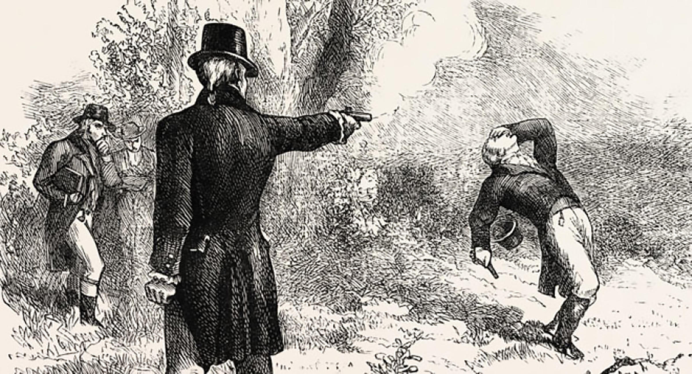 A 19th century engraving of the Burr-Hamilton duel on 11 July 1804