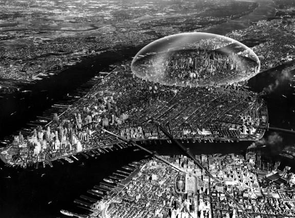 Buckminster Fuller's proposed dome over Manhattan