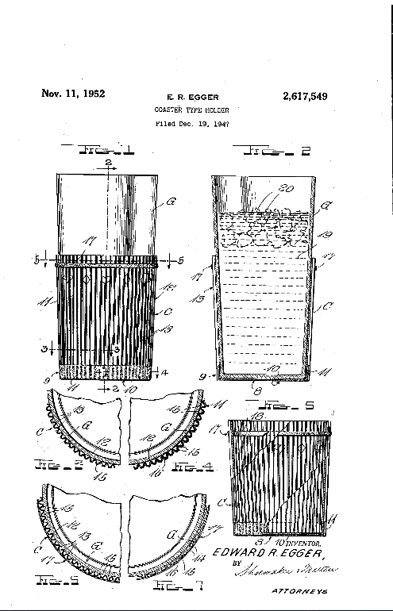 A look at Egger's patent for a portable coaster for a coffee cup.