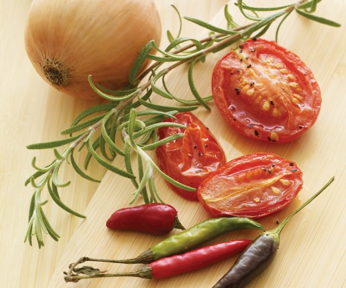 Smoked tomato, rosemary, chile peppers and onion.