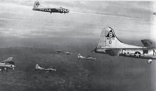 American B-17s fly over Wittenberg, Germany, in 1945. Apart from the plane in the foreground, all of the bombers pictured here belonged to Hesley's squadron, the 327th.
