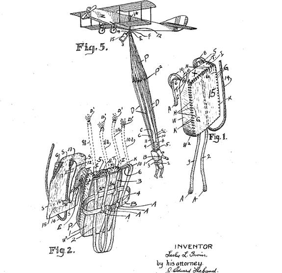 """Leslie Irvin, patent 1,323,983 for a """"safety parachute pack,"""" 1918"""