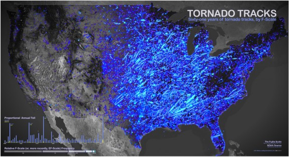 A map of tornado activity in the U.S., 1950 to 2011