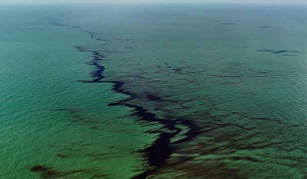 Oil Spill #10, Oil Slick at Rip Tide, Gulf of Mexico, June 24, 2010 (detail) by Edward Burtynsky, 2010