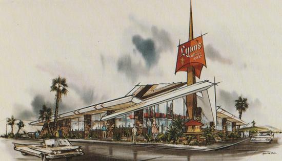 Armet & Davis sketch for Lyon's Coffee Shop in San Bruno, California (1962)