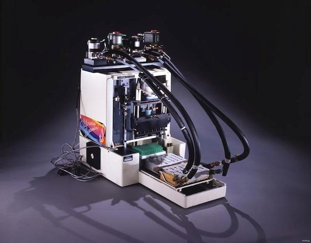 The first thermal cycler machine, built by scientists at the Cetus Corporation