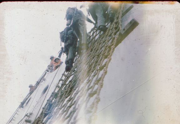 Climbing down rope ladders