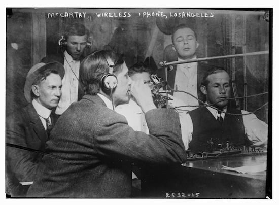"Photo showing the ""McCarthy Wireless 'phone"" circa 1910-15"