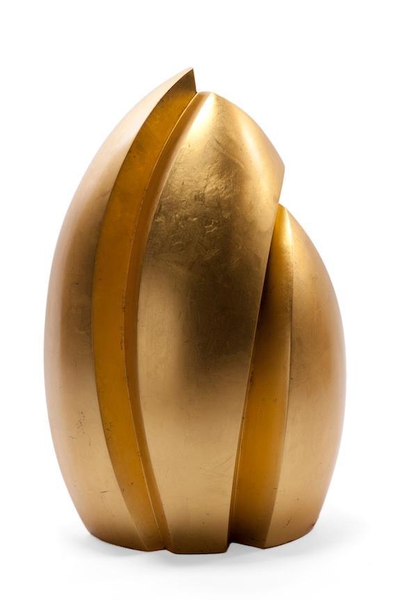 Joe Urruty's wooden sculptures are gilded in 23K gold leaf.